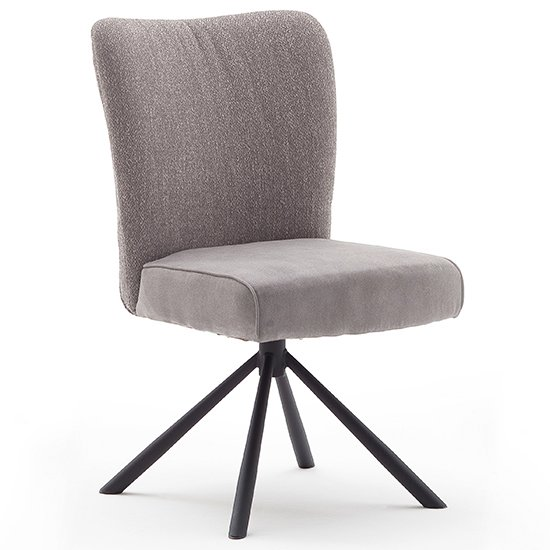 Santiago Swivel Fabric Upholstered Dining Chair In Grey