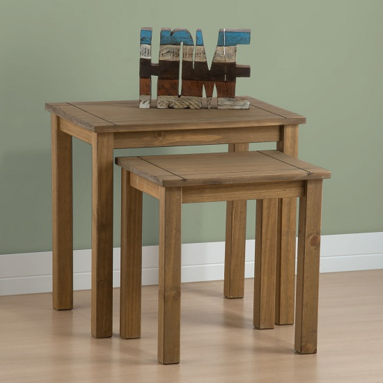 Santiago Wooden Nest Of Tables In Distressed Pine