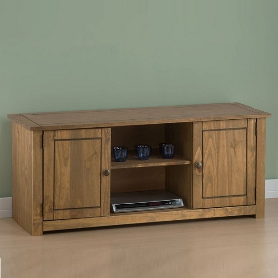 Santiago Wooden TV Stand In Distressed Pine With 2 Doors_2