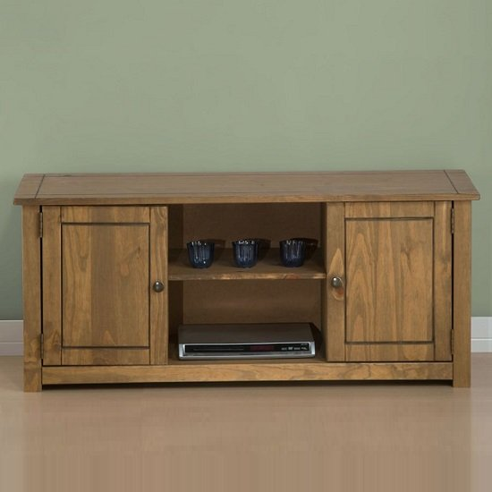 Santiago Wooden TV Stand In Distressed Pine With 2 Doors