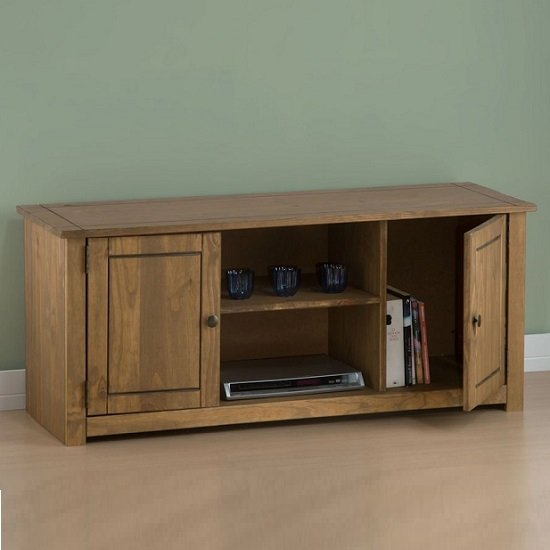 Santiago Wooden TV Stand In Distressed Pine With 2 Doors_3