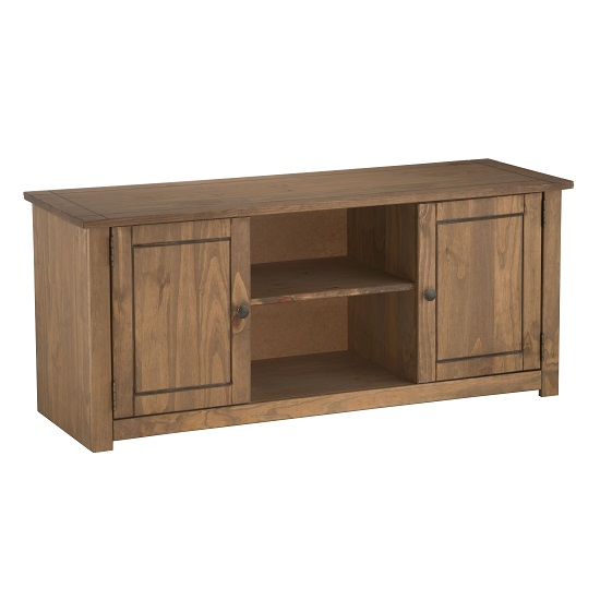 Santiago Wooden TV Stand In Distressed Pine With 2 Doors_4