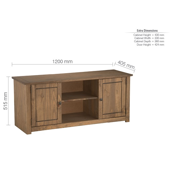 Santiago Wooden TV Stand In Distressed Pine With 2 Doors_5