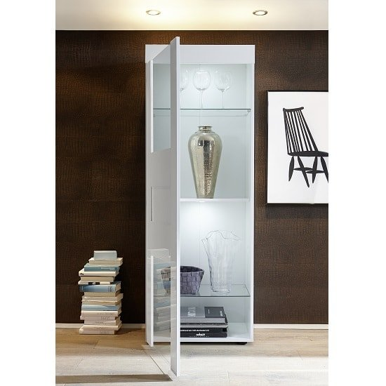 Santino Display Cabinet In White High Gloss With LED_2