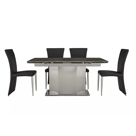 Santino Extendable Marble Dining Table With 4 Chairs