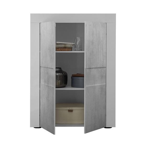 Santino Highboard In White High Gloss And Grey With 2 Doors_3