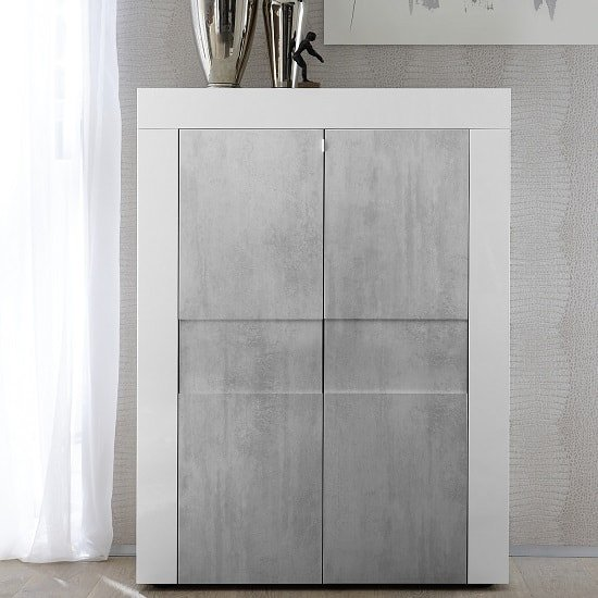 Santino Highboard In White High Gloss And Grey With 2 Doors_1