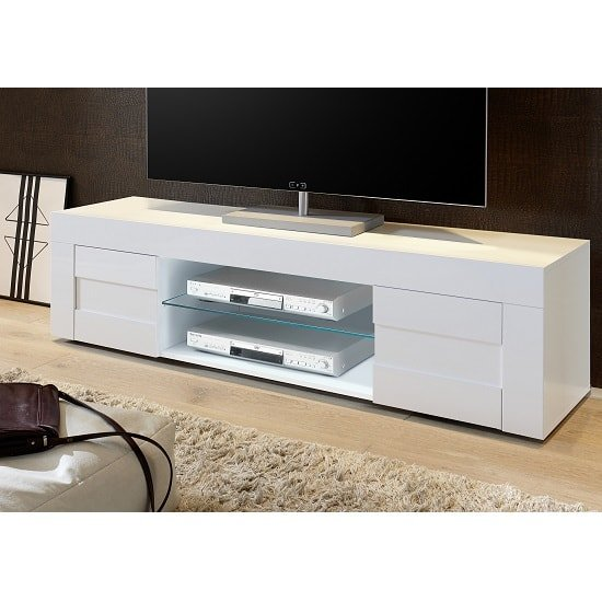 Santino TV Stand Large In White High Gloss With 2 Doors