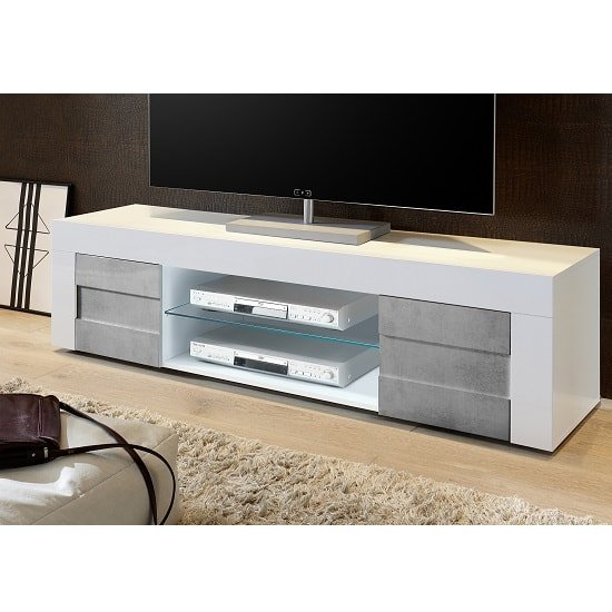 Santino TV Stand Large In White High Gloss And Grey And 2 Doors