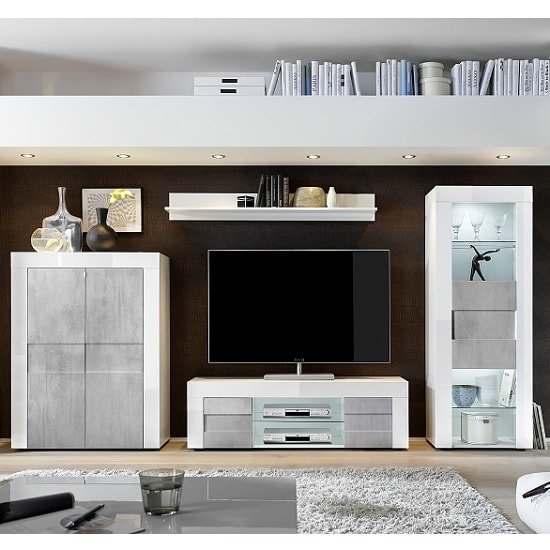 Santino Highboard In White High Gloss And Grey With 2 Doors_2