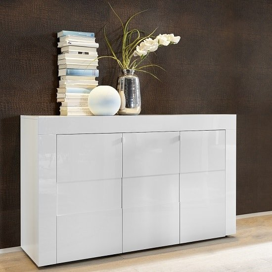 Santino Sideboard In White High Gloss With 3 Doors