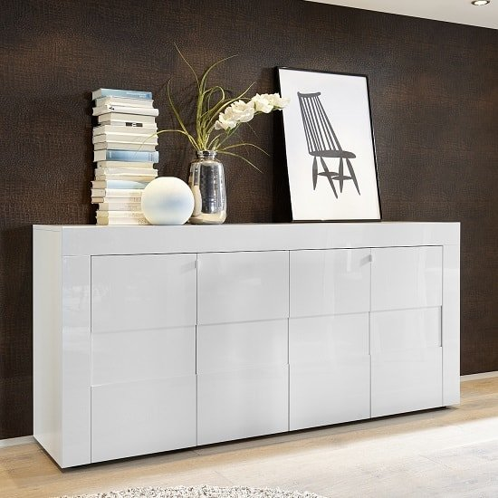 Santino Sideboard In White High Gloss With 4 Doors_1