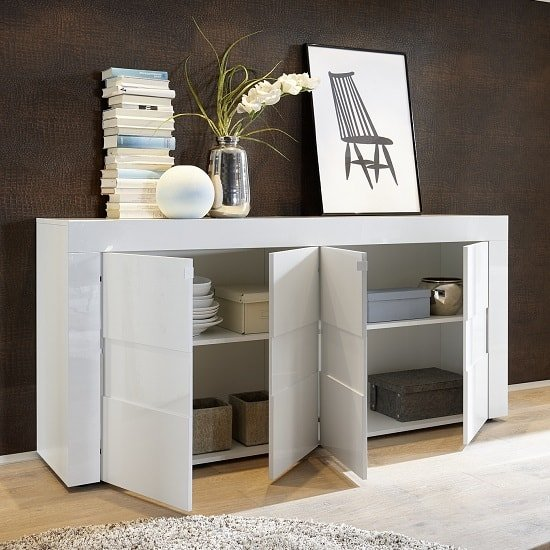 Santino Sideboard In White High Gloss With 4 Doors_2