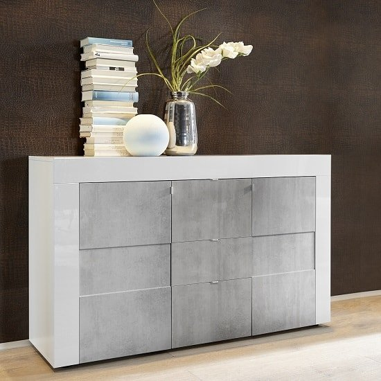Santino Sideboard In White High Gloss And Grey With 2 Doors