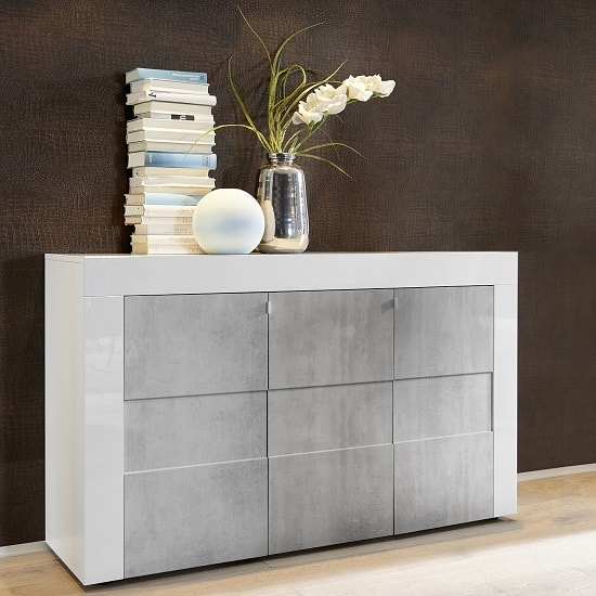 Santino Sideboard In White High Gloss And Grey With 3 Doors