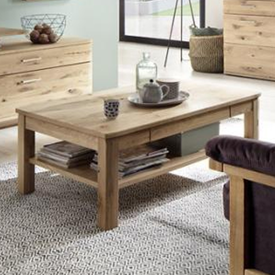 Santori Wooden Coffee Table In Oak With Slim Drawer
