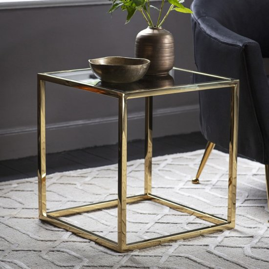 Santorini Glass Side Table In Gold_1