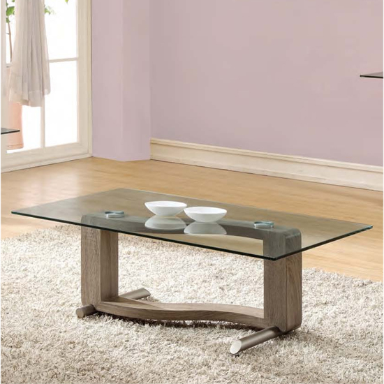 Manta Clear Glass Coffee Table With Walnut Base