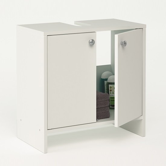 Photo of Santos bathroom vanity cabinet in white with 2 doors