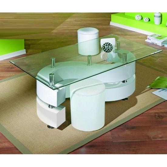 Saphira Glass Top Coffee Table With Gloss Base And Stools