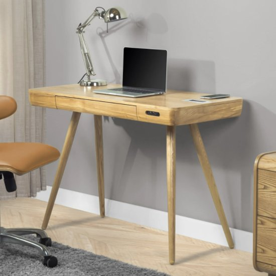 View Sapporo smart wooden laptop desk in oak with 1 drawer