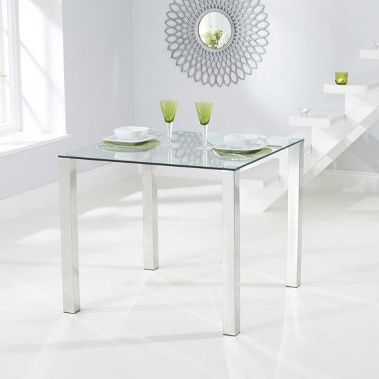 Sarahan Square Glass Dining Table With Chrome Legs
