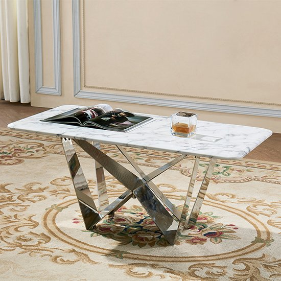 Sardinia Grey Marble Coffee Table With Steel Legs