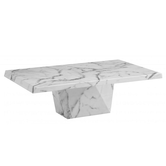 Sardinia Contemporary Marble Coffee Table Rectangular In White
