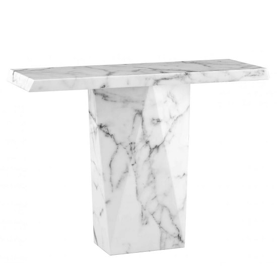 Sardinia Contemporary Marble Console Table Rectangular In White