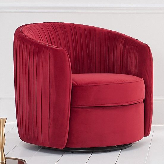 Sarenot Velvet Upholstered Swivel Chair In Russett