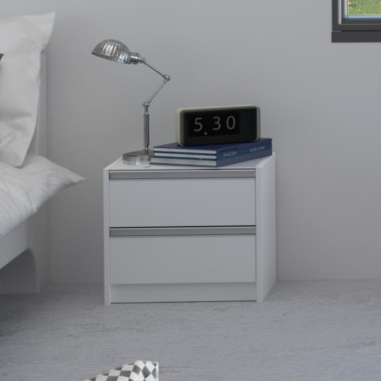 Read more about Sario glass top bedside cabinet in white with 2 drawers
