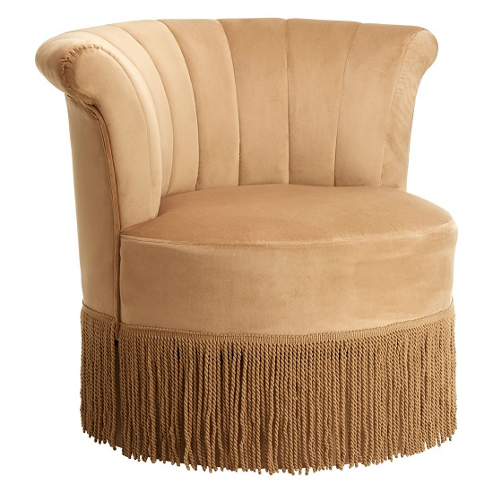 Product photograph showing Nyamien Polyester Velvet Swivel Bedroom Chair In Cream