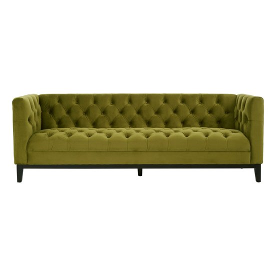 Okab Viola Moss Fabric 3 Seater Sofa In Green