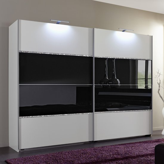 Sicily sliding wardrobe alpine white and black glass 754860 for Back painted glass designs for wardrobe