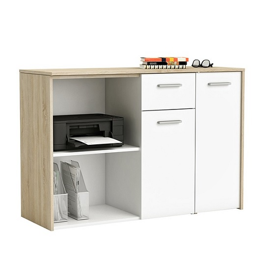Saturn Rotating Computer Desk In Brushed Oak And Pearl White_2