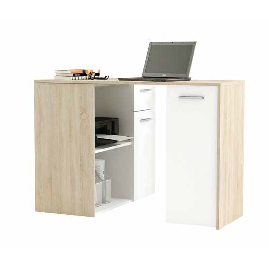 Saturn Rotating Computer Desk In Brushed Oak And Pearl White_1