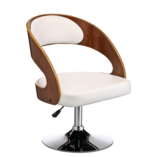 Savial White Faux Leather Bar Chair With Arms