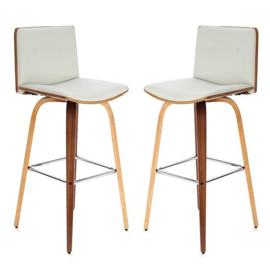 Savial White Faux Leather Bar Chairs With Arms In Pair
