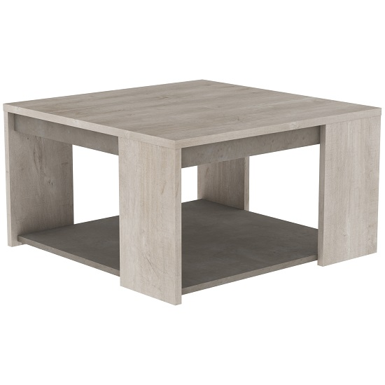 Saville Wooden Coffee Table In Champagne Oak And Beige Concrete