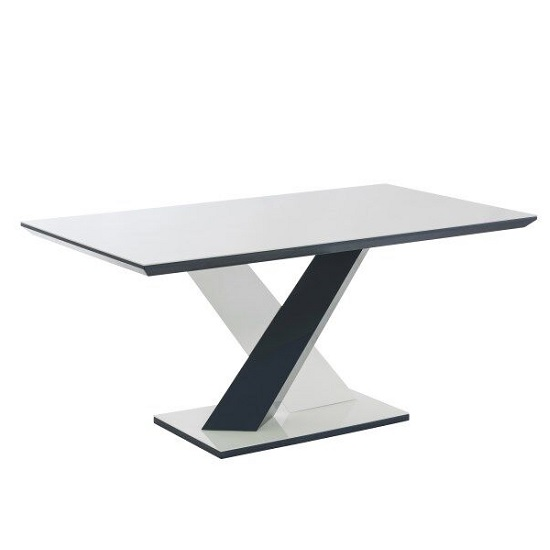 Savio Glass Dining Table In Deep Blue And White High Gloss