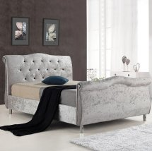 Savio Fabric Bed In Silver Crushed Velvet With Chrome Legs