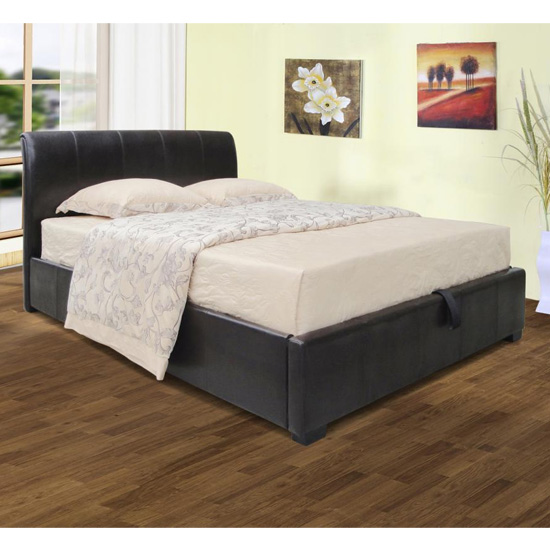 Savona Faux Leather Storage King Size Bed In Black
