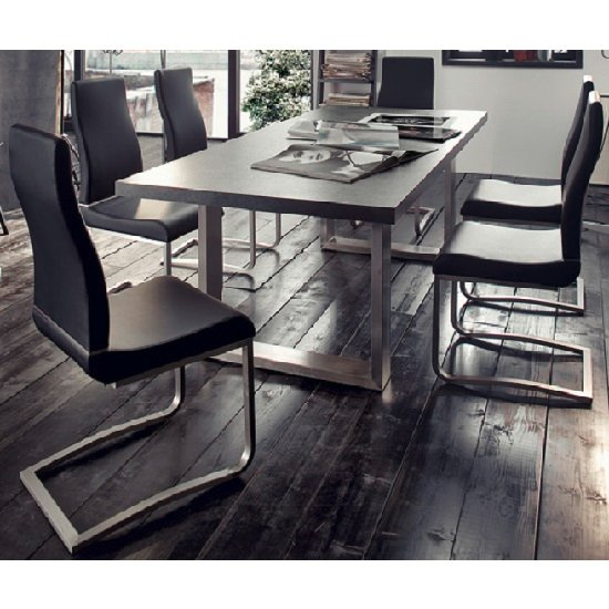 Savona Extra Large Dining Table In Grey And Stainless Steel Legs_2 ... Part 48