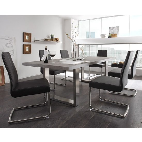 Extra Large Dining Room Table: Savona Extra Large Dining Table In Grey And Stainless Steel