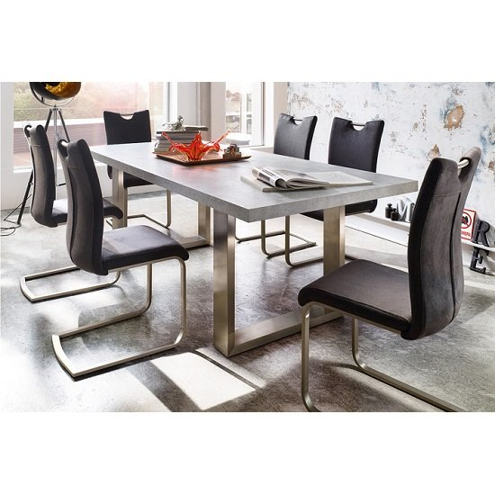 Savona Extra Large Dining Table In Grey And Stainless Steel