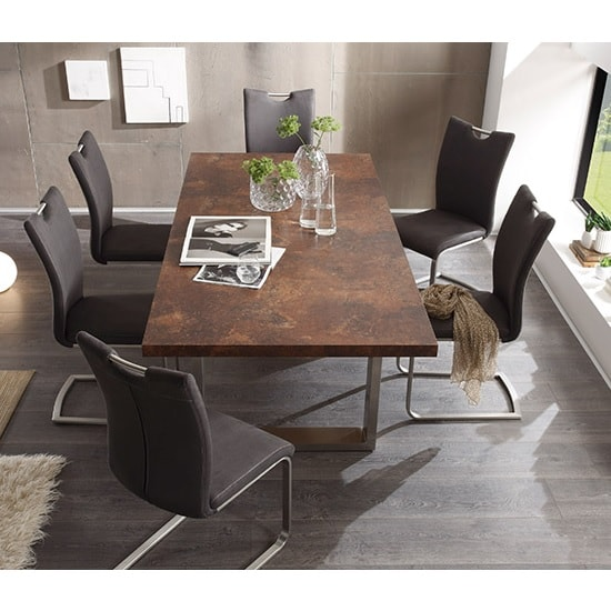 Savona Wooden Dining Table In Rust With 6 Pavo Dining Chairs