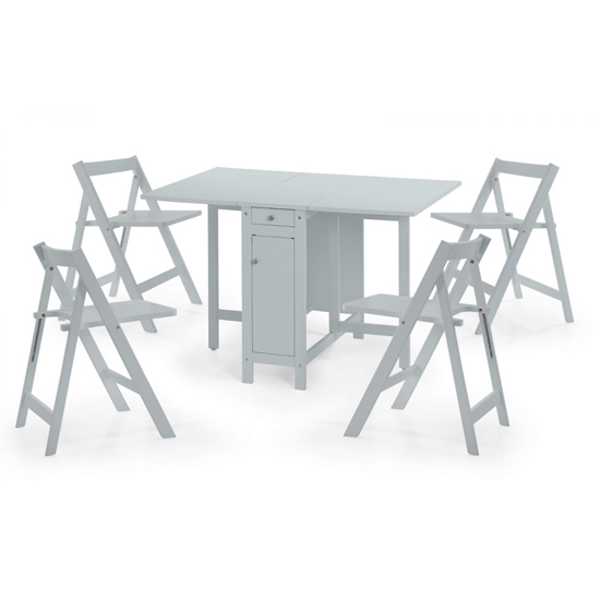 Savoy Dropleaf Dining Set In Grey With 4 Chairs