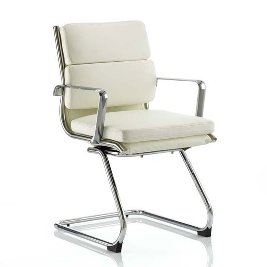 Savoy Leather Cantilever Office Visitor Chair In Ivory