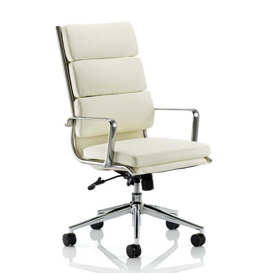 Savoy Leather High Back Executive Office Chair In Ivory