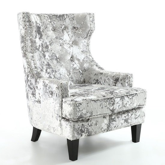Savoy Arm Chair In Crushed Velvet Silver With Black Legs
